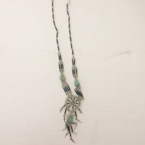 Black silver and green necklace